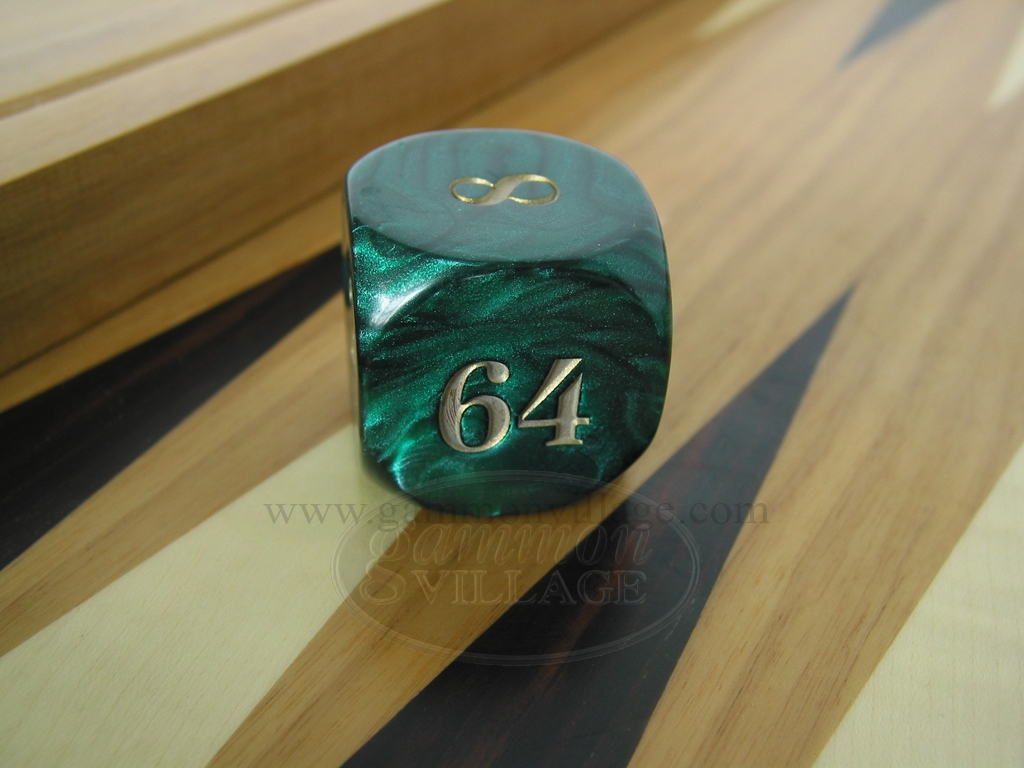 1 3/8 in. Backgammon Doubling Cube - Green Marbleized
