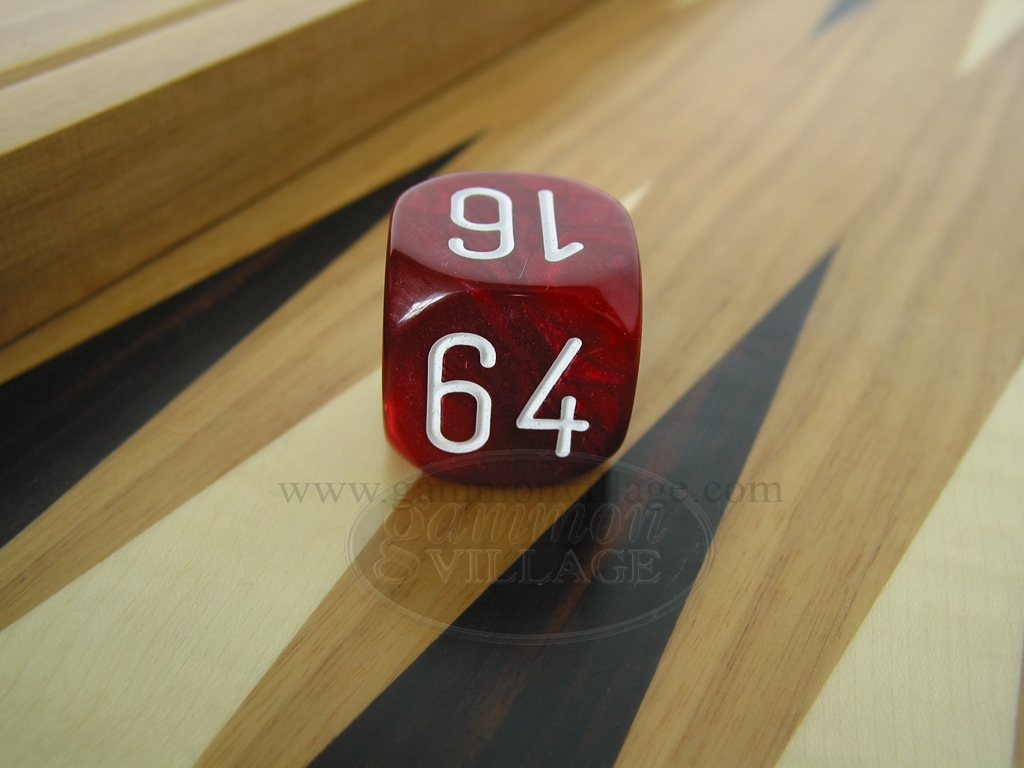 1 3/16 in. Backgammon Doubling Cube - Red Marbleized