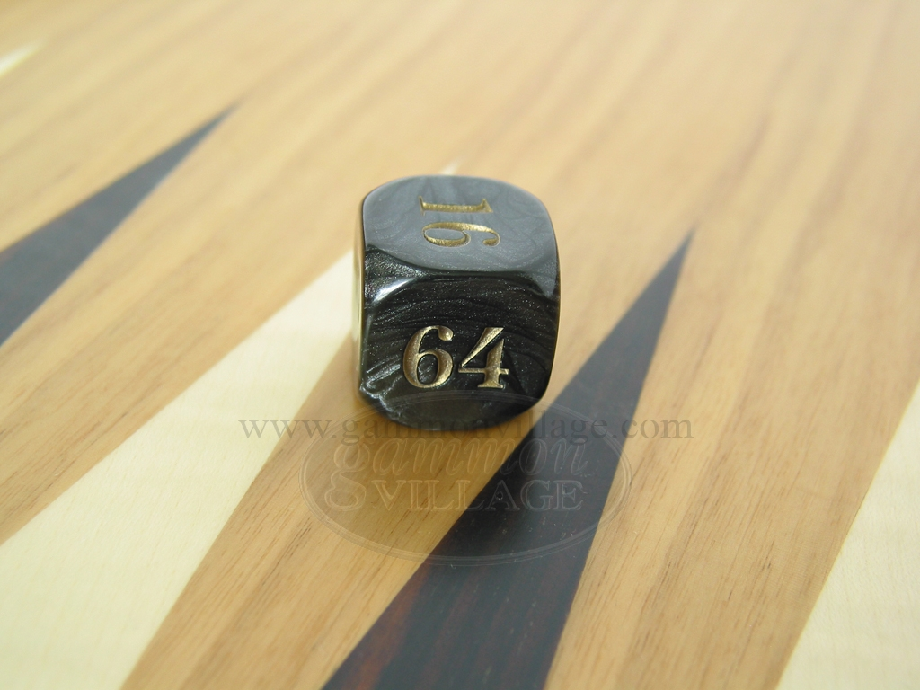 7/8 in. Backgammon Doubling Cube - Black Marbleized