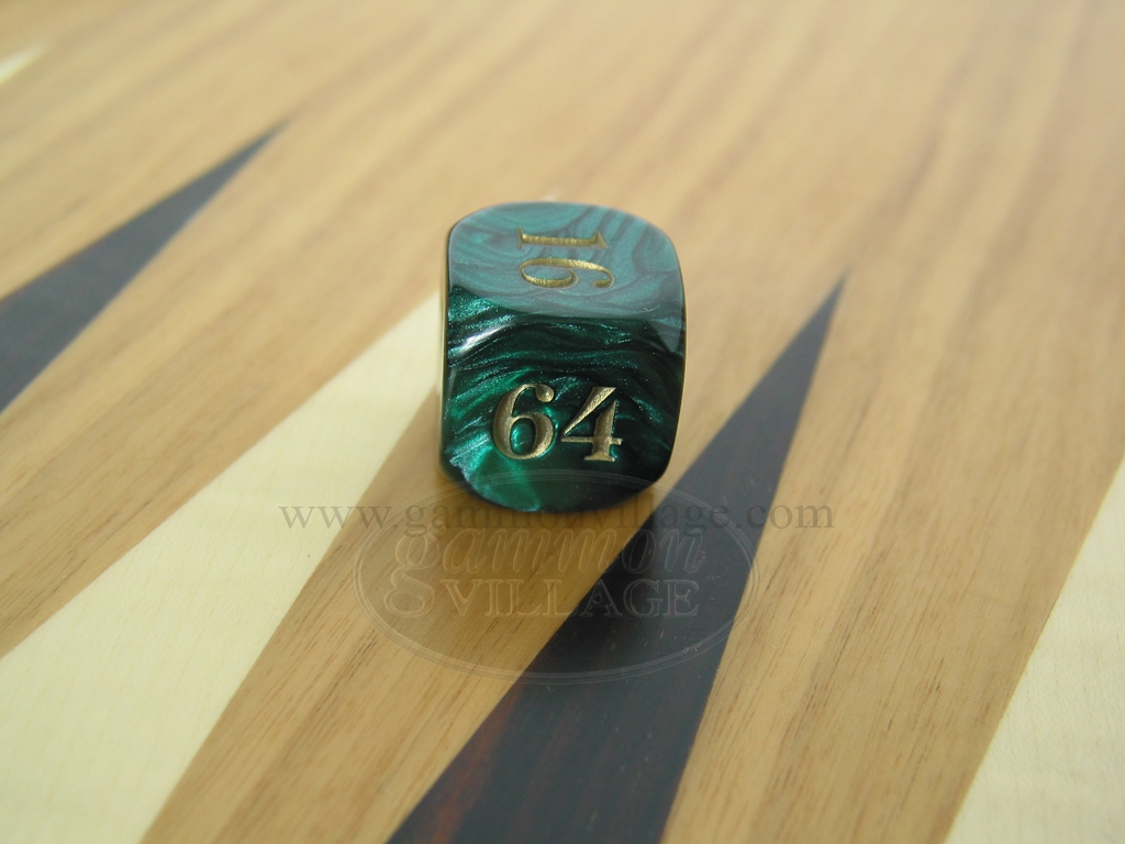7/8 in. Backgammon Doubling Cube - Green Marbleized