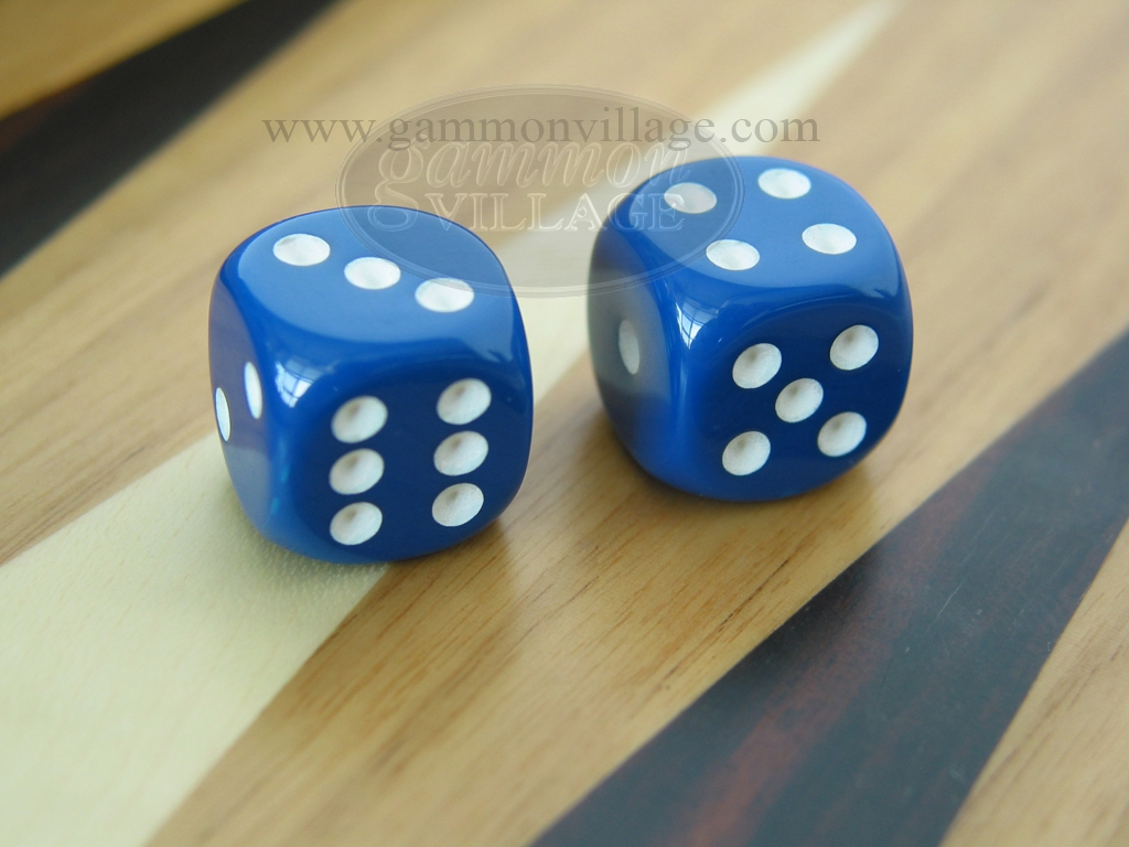 5/8 in. Rounded High Gloss Solid Dice - Blue (1 pair)