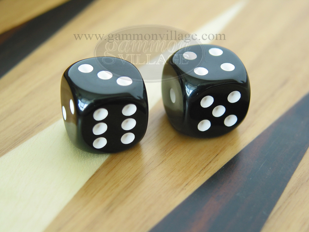 3/8 in. Rounded High Gloss Solid Dice - Black (1 pair)
