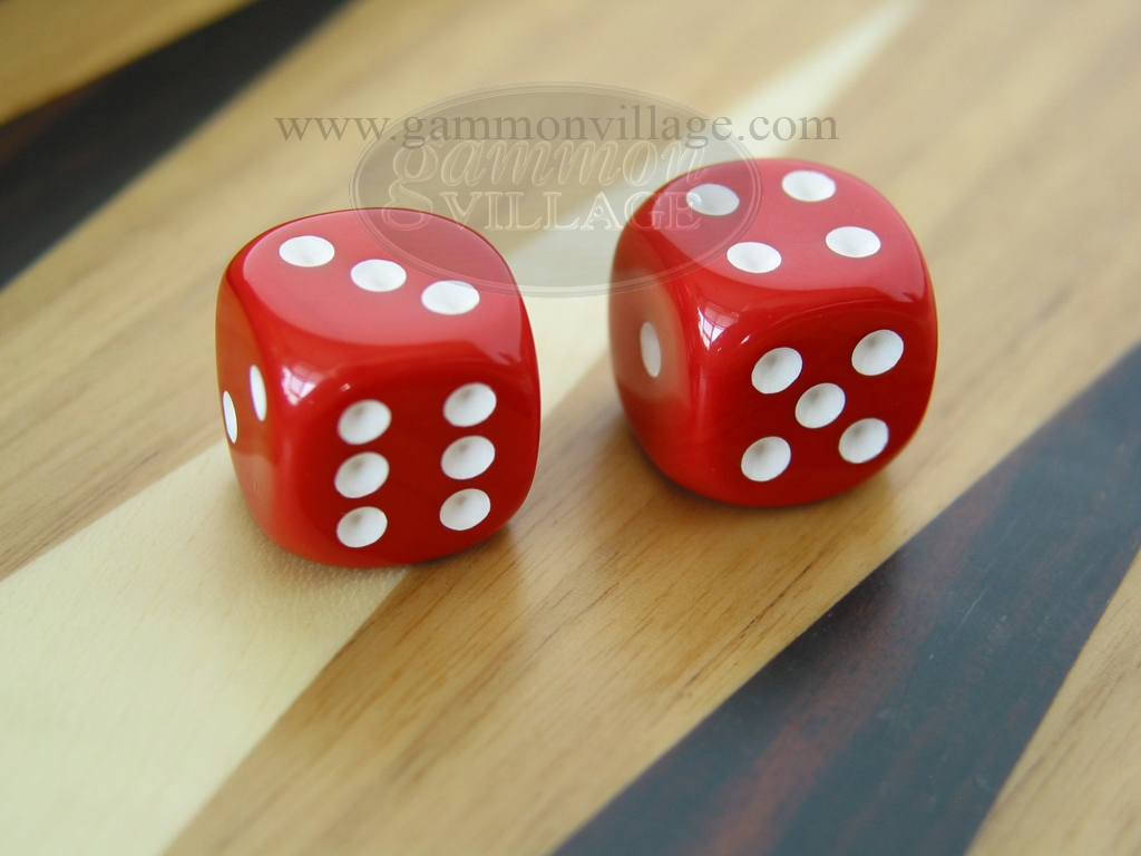 3/8 in. Rounded High Gloss Solid Dice - Red (1 pair)