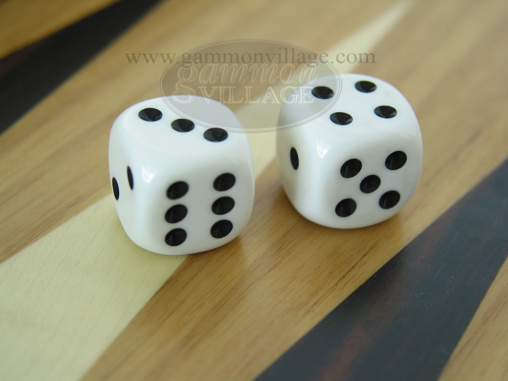 3/16 in. Rounded High Gloss Solid Dice - White (1 pair)