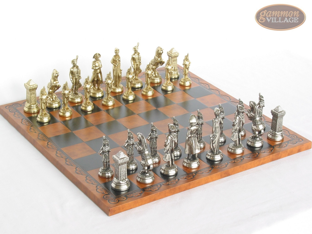 French Heritage Chessmen with Patterned Italian Leatherette Board