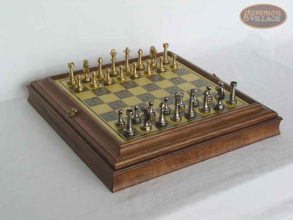 Professional Brass Tournament Chessmen with Italian Brass Board with Storage