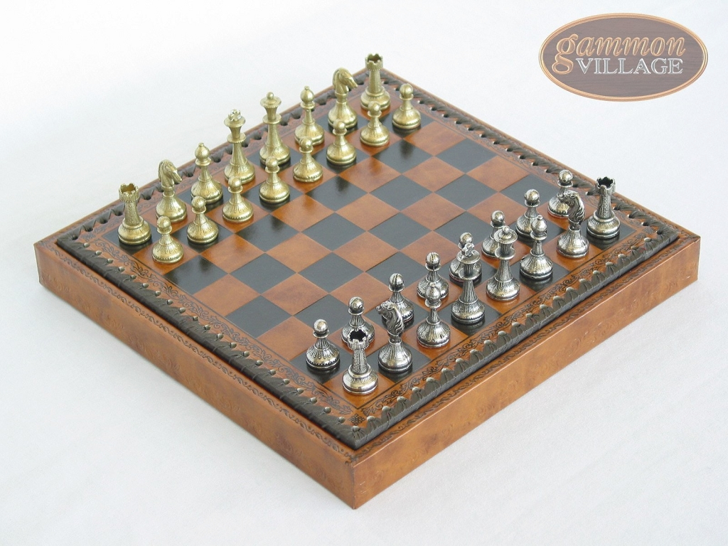 Italian Brass/Silver Staunton Chessmen with Patterned Italian Leatherette Chess Board with Storage [Small]