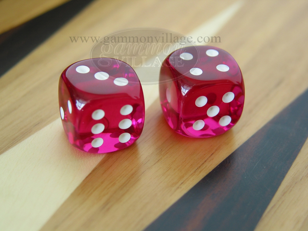1/2 in. Rounded High Gloss Lucent Dice - Magenta (1 pair)
