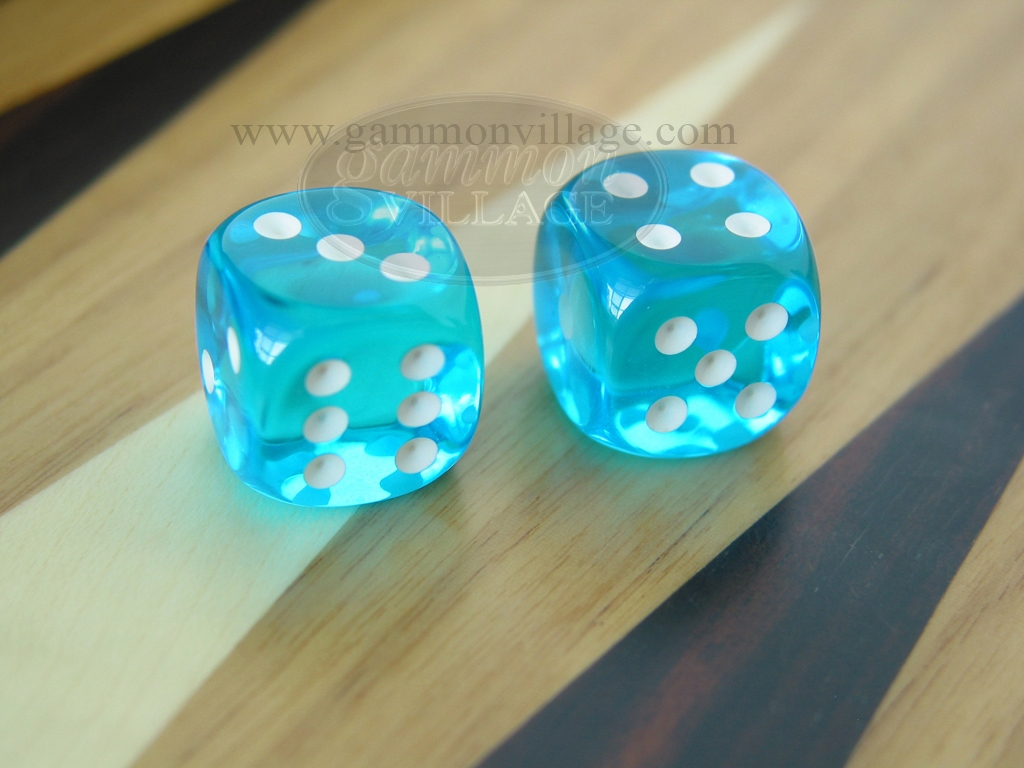 5/8 in. Rounded High Gloss Lucent Dice - Turquoise (1 pair)