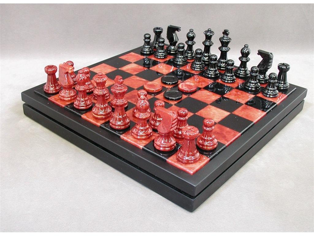 Chess & Checkers Set - Alabaster Red and Black