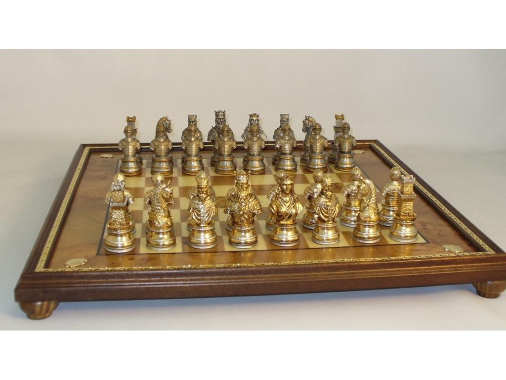 Chess Set Camelot Solid Pewter Metal Chessmen with Elmroot Wood Chess Board