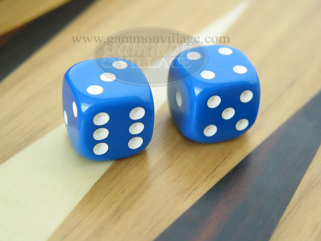 1/2 in. Rounded Solid Dice - Blue (1 pair)