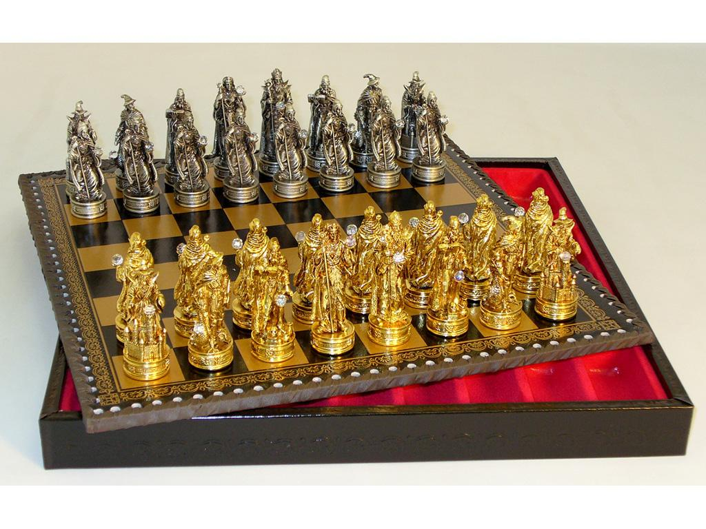 Pewter Fantasy Chessmen with Crystals On Leather Chest