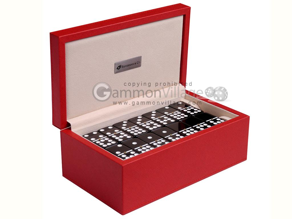 Silverman & Co. Double 9 Large Black Domino Set - Red Case