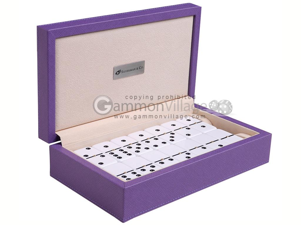 Silverman & Co. Double 6 Large White Domino Set - Purple Case