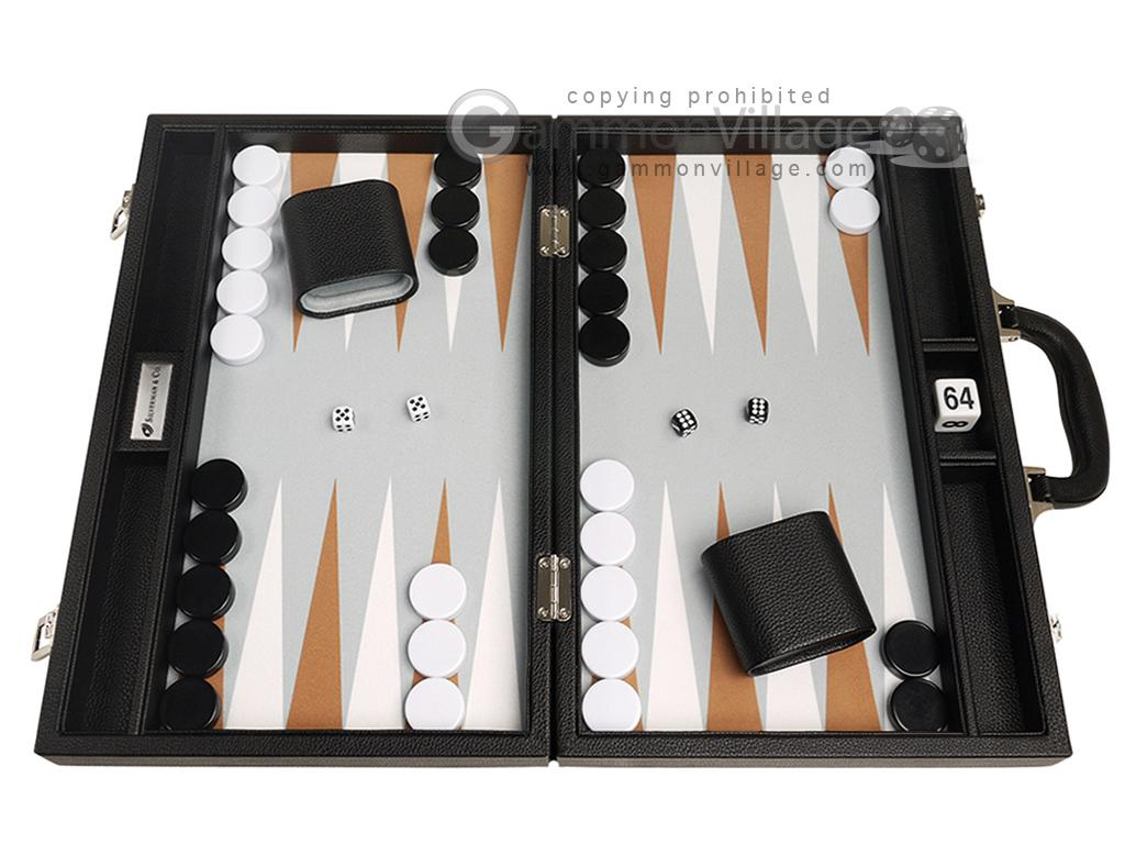 16-inch Premium Backgammon Set - Black with White and Rum Points