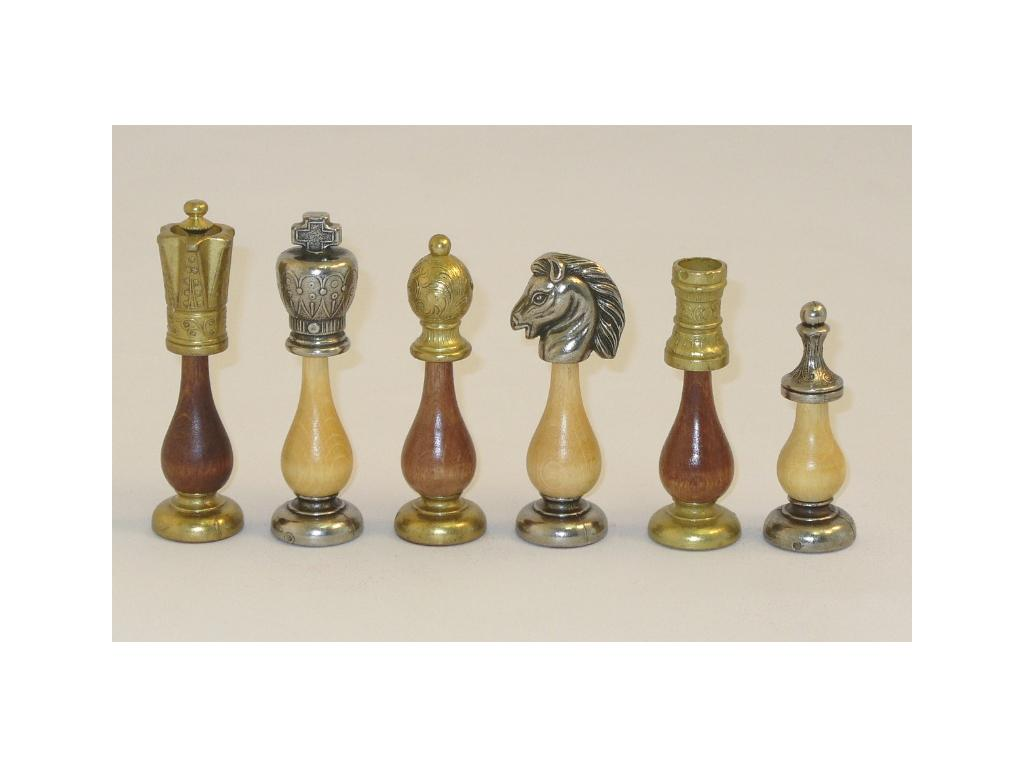 Big Staunton Metal & Wood Chessmen