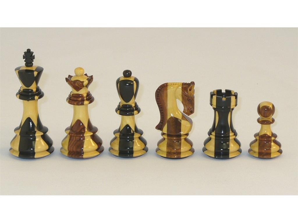 Russian Sheesham and Ebony Inlaid Wood Chessmen