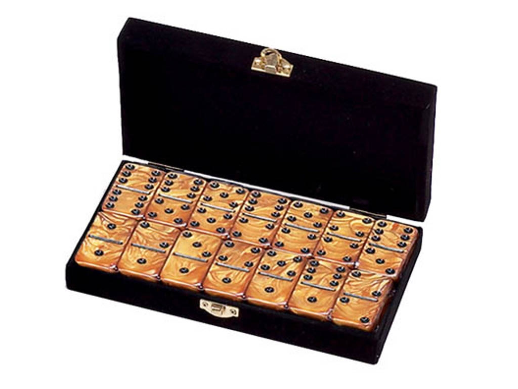 DOUBLE 6 Gold Dominoes Set - Velvet Box