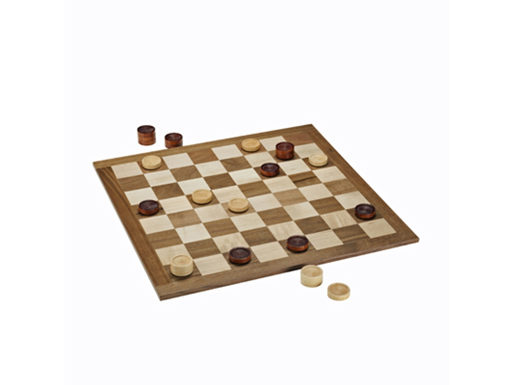 Classic Checkers Set - Dark Brown & Natural Pieces with Solid Walnut & Maple Wood Board 18 in. (Made in USA)