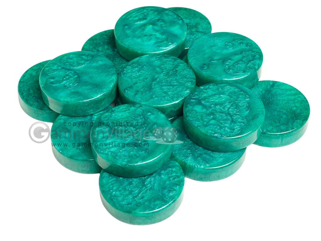 Backgammon Checkers - Mother Of Pearl - Plastic - Emerald Green (1 1/4 in. Dia.) - Roll of 15