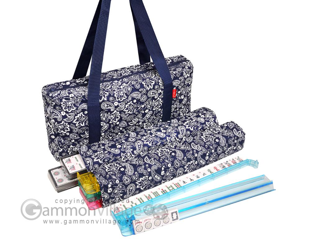 Soft-Sided American Mah Jongg Set by Linda Li™ with White Tiles and Modern Pushers - Blue Paisley Soft Bag