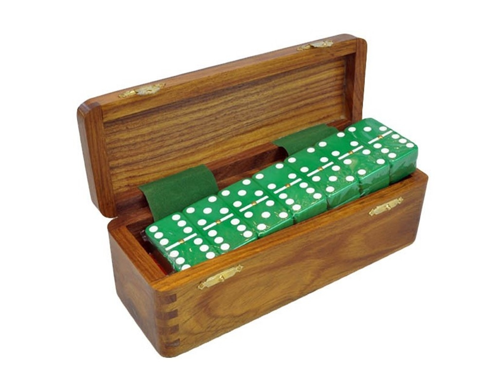 DOUBLE 6 Green Dominoes Set - With Spinners - Wood Box