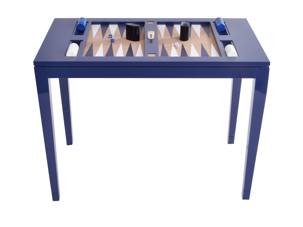 Attirant Lacquered Backgammon Table   Navy