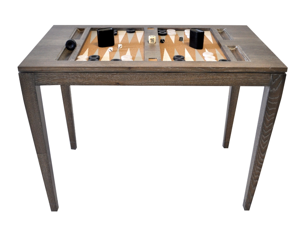 Bon Lacquered Backgammon Table   Driftwood
