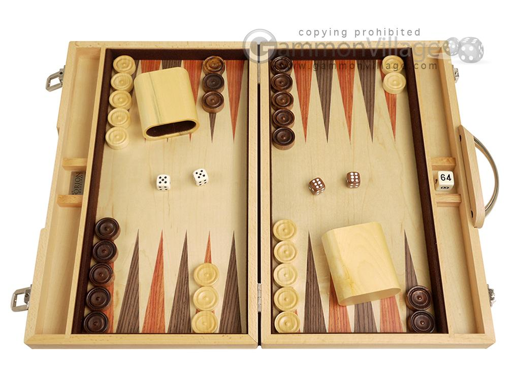 15-inch Wood Backgammon Set - Indigo Blue