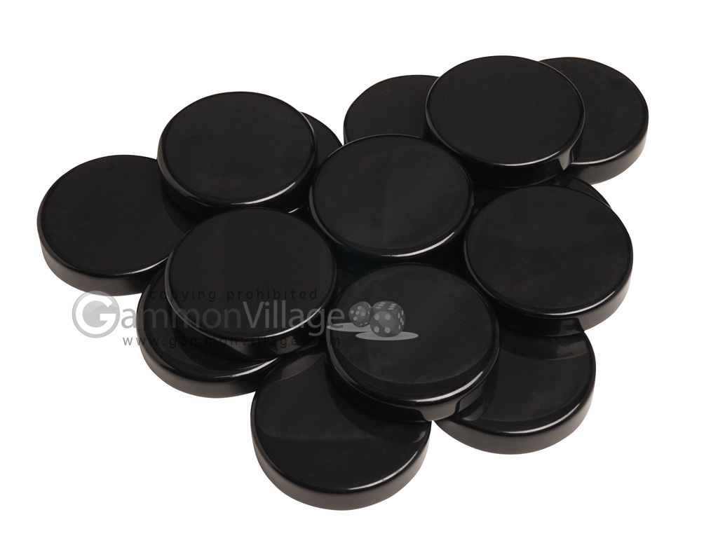 Backgammon Checkers - Opaque - Black - (1 3/4 in. Dia.) - Roll of 15