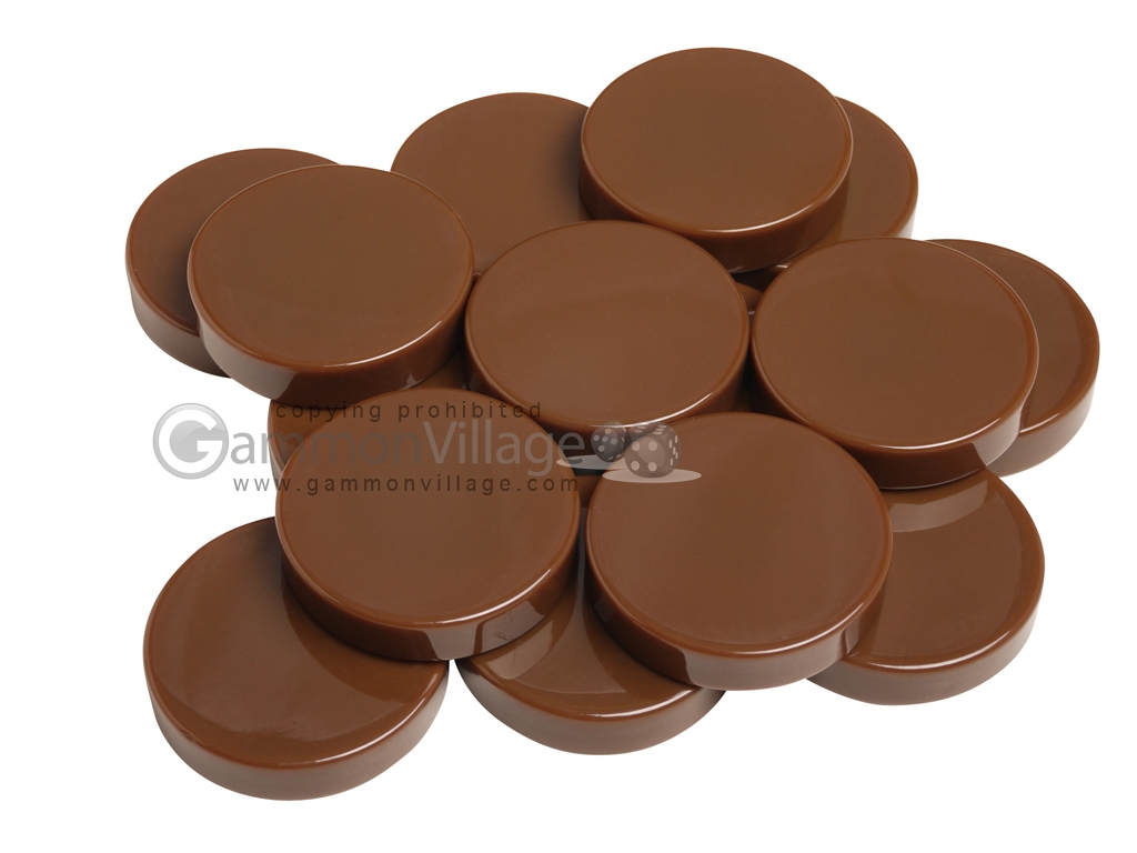 Backgammon Checkers - Opaque - Brown - (1 3/4 in. Dia.) - Roll of 15