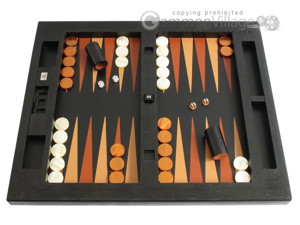 Zaza U0026 Sacci® Leather Table Top Backgammon Set   Black Lizard