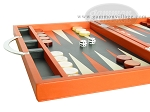 Zaza & Sacci® Leather Backgammon Set - Model ZS-200 - Travel - Orange