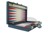 Zaza & Sacci® Leather/Microfiber Backgammon Set - Model ZS-760 - Large - Blue