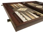 19-inch Wood Backgammon Set - Wenge with Printed Field and Side Racks