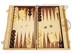 18-inch Wood Backgammon Set - Olive Starburst