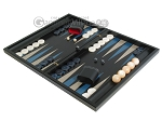Black Backgammon Set with Racks - Blue