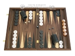 Walnut Backgammon Set with Racks & Slotted Checkers