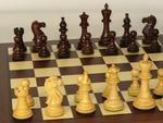 American Classic Rosewood Chessmen with Dark Rosewood and Maple Inlaid Chess Board