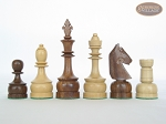 Exclusive Staunton Maple Chessmen with Patterned Italian Leatherette Chess Board