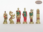 Colored Brass Roman Chessmen with Patterned Italian Leatherette Chess Board with Storage [Green]