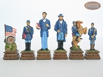 American Civil War Chessmen with Italian Chess Board with Storage