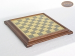 Red and Black Maple Staunton Chessmen with Italian Brass Chess Board [Raised]