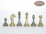 Italian Brass/Silver Staunton Chessmen with Patterned Italian Leatherette Chess Board with Storage [Brown]