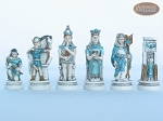 Egyptian Chessmen with Spanish Lacquered Chess Board [Grey]