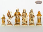 The Battle of Kazan Chessmen with Italian Lacquered Chess Board [Green]
