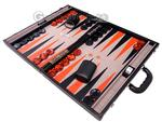 Aries™ Professional Leather Backgammon Set - Black Case with Beige Field