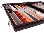 Aries™ Professional Leather Backgammon Set - Brown Case with Beige Field