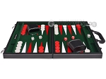 15-inch Leatherette Backgammon Set - Inlaid Velvet Field - Black/Green